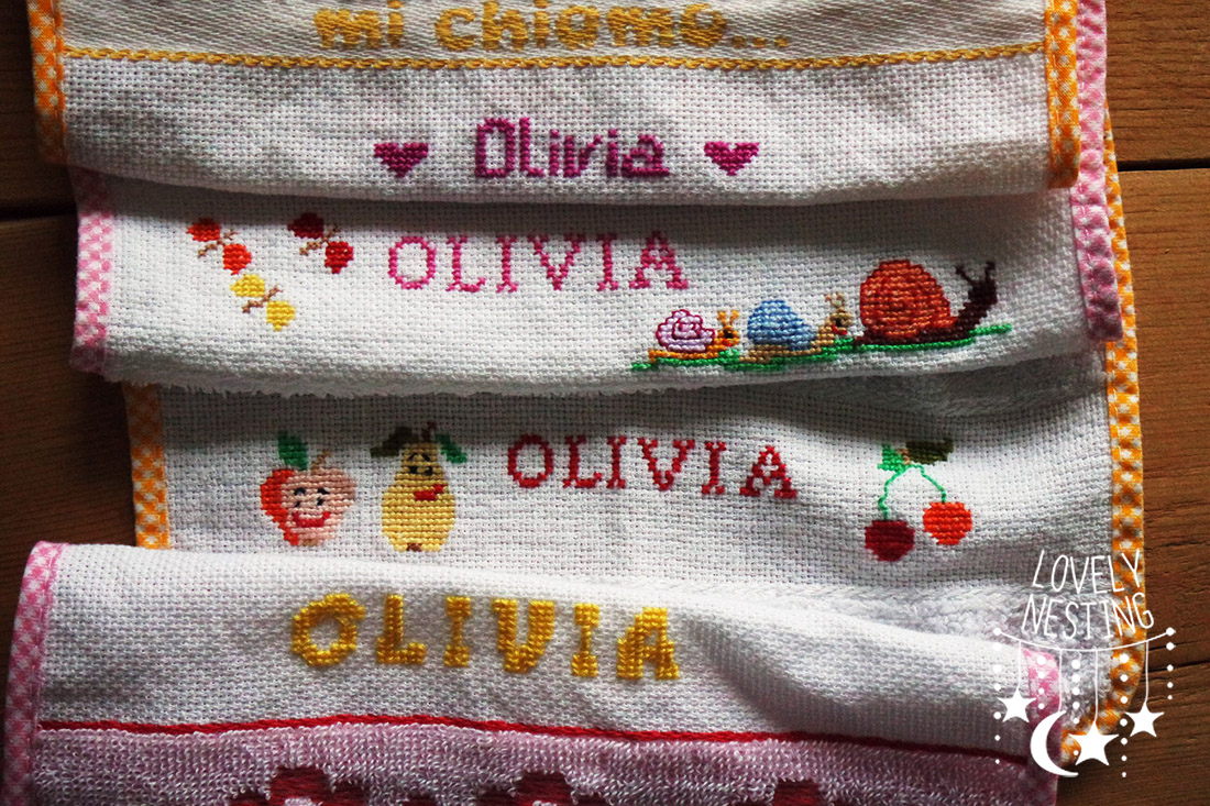 Punto Croce Per Bambini Asilo.Punto Croce Facile Le Bavaglie Per Olivia Lovely